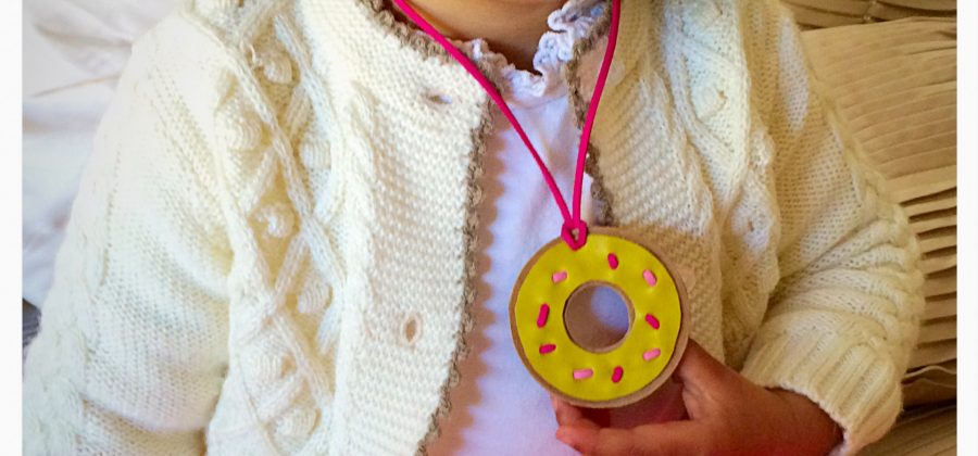 Donut handmade leather necklace